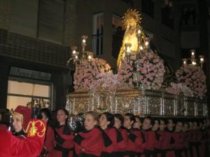 Procesión del Silencio Paso encarnado. Virgen de la Soledad
